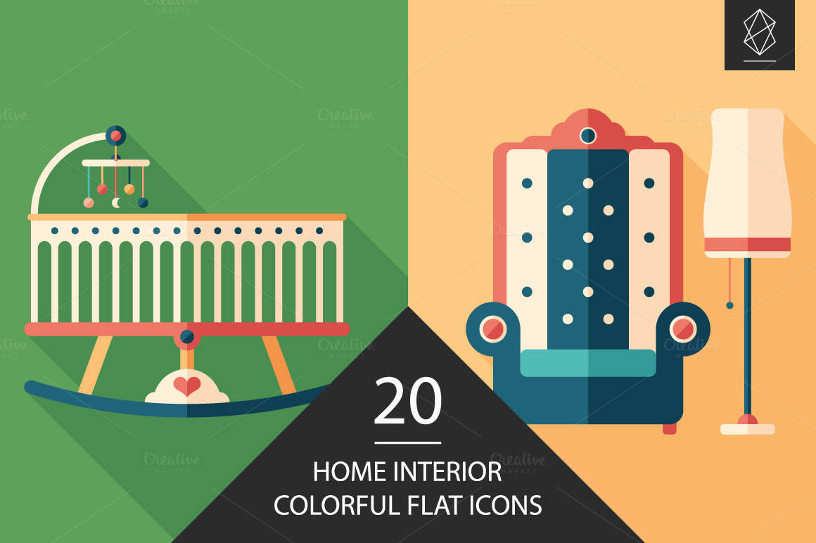 Home Interior Flat Icon Set Icons On Creative Market