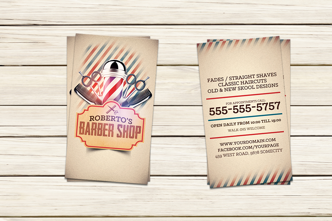 Barber shop business card template business card for Barber shop business card