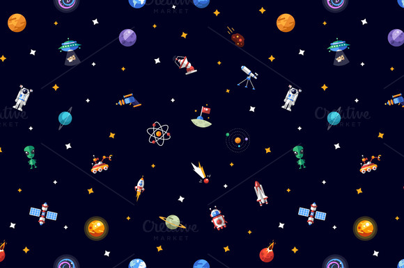 Flat Design Space Icons Pattern