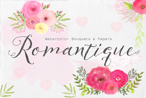 Watercolor Bouquets Papers