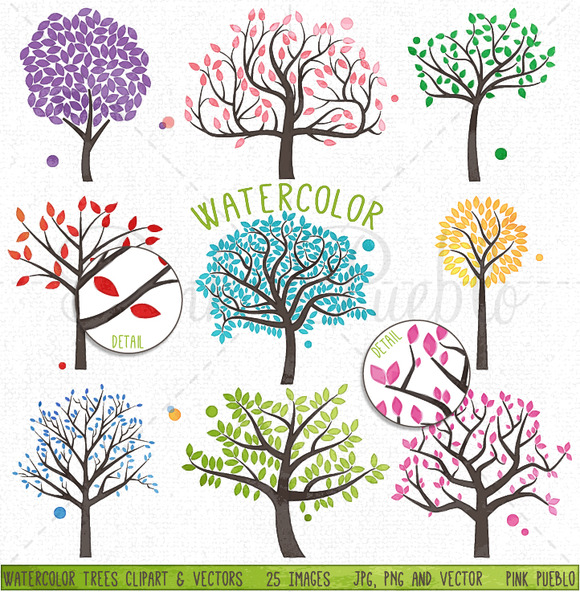 Wedding Tree Watercolor Clipart: Watercolor Trees Clipart And Vectors