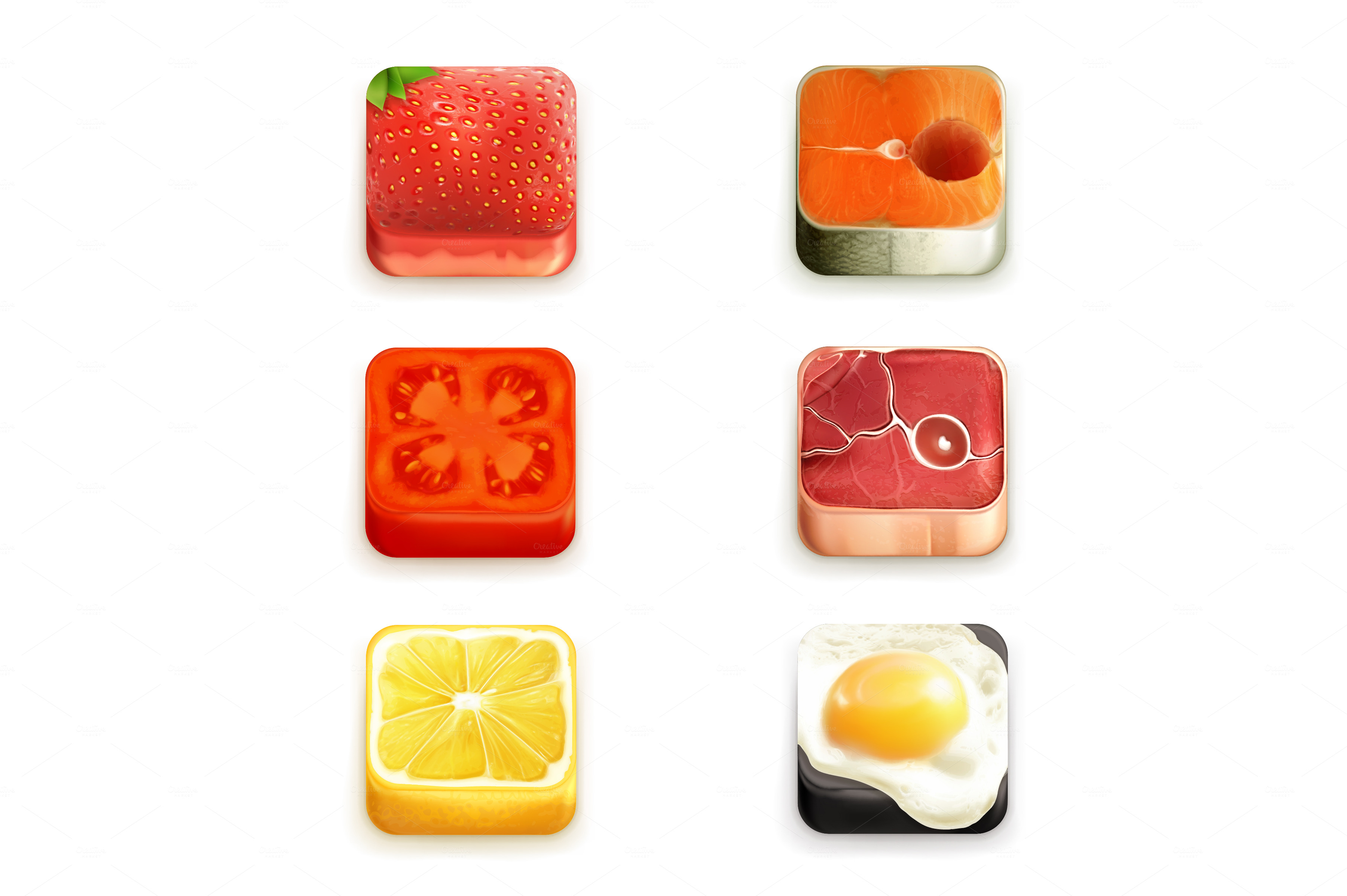 Food app vector icons icons on creative market for Application creation cuisine