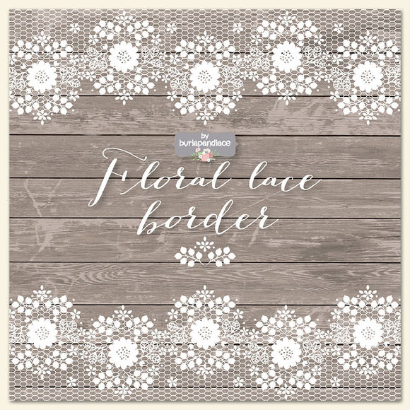 Floral lace border clipart/wood ~ Illustrations on ...