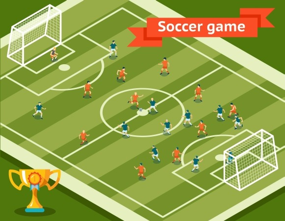 Soccer game. Football field - Graphics