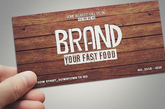 fast food restaurant gift card card templates on creative market. Black Bedroom Furniture Sets. Home Design Ideas