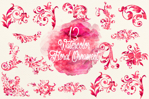 Watercolor Red Floral Ornaments