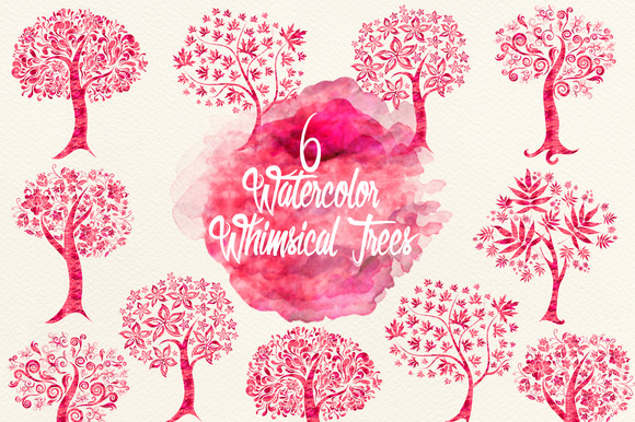 Watercolor Cherry Red Whimsical Tree