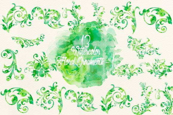 Watercolor Green Floral Ornaments