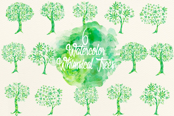 Watercolor Green Whimsical Trees