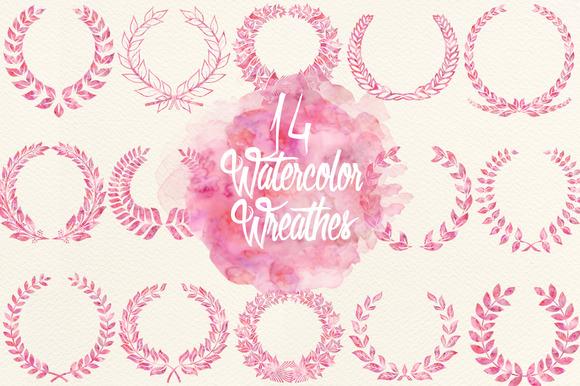 Watercolor Fuchsia Wreathes