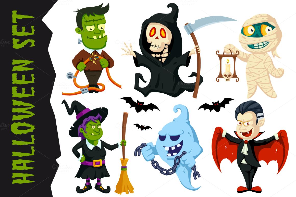 Halloween Character Design Challenge : Halloween flat cartoon character set illustrations on