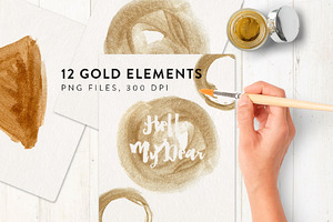 Painted gold elements