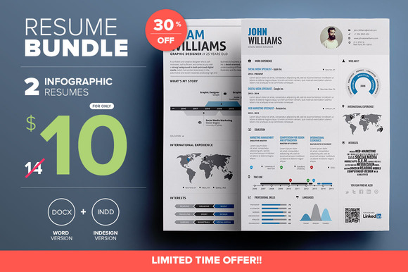 CreativeMarket - Infographic Resume - Mini Bundle 306554