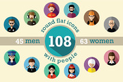 108 flat round avatar icons-Graphicriver中文最全的素材分享平台