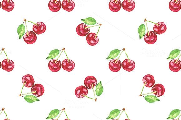 cherries. Vector watercolor painting - Patterns