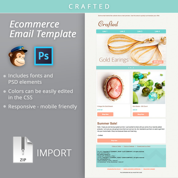 Mailchimp Ecommerce Email Template   Email Templates on Creative QX6kuozn