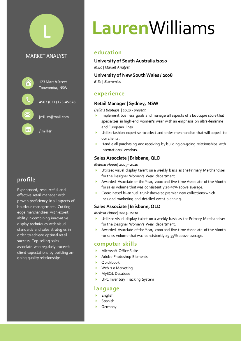 elegant resume for ms word