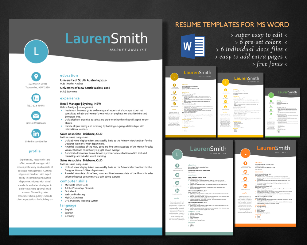 elegant 3 in 1 resume for ms word