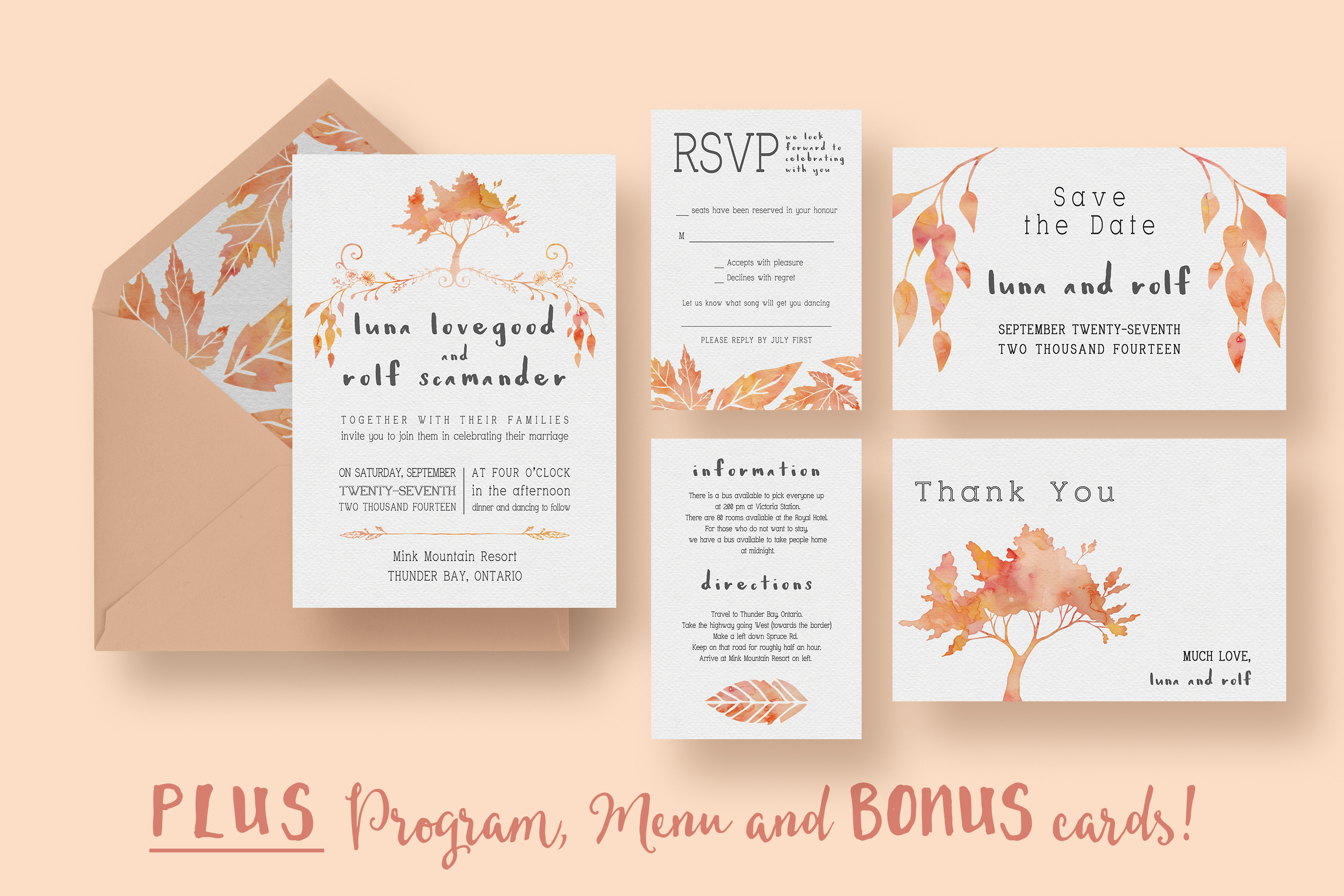Wedding Invitation Suite Templates: Watercolour Tree Wedding Suite