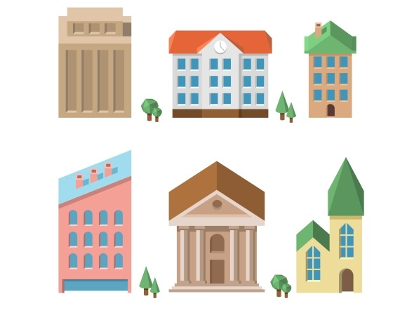 Buildings. Vector houses - Graphics