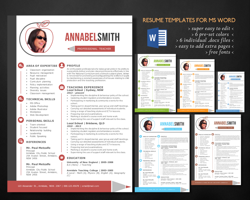 Modern 2 In 1 Word Teacher Resume Resume Templates On