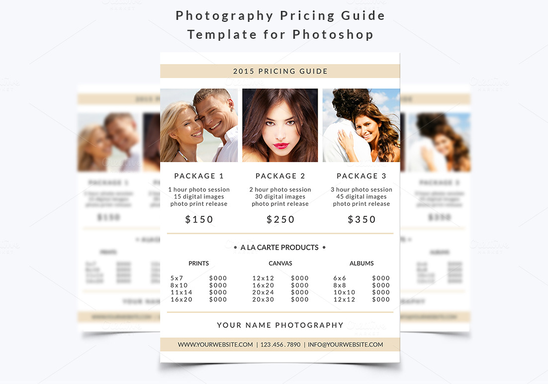 photography pricing guide template flyer templates on creative market. Black Bedroom Furniture Sets. Home Design Ideas