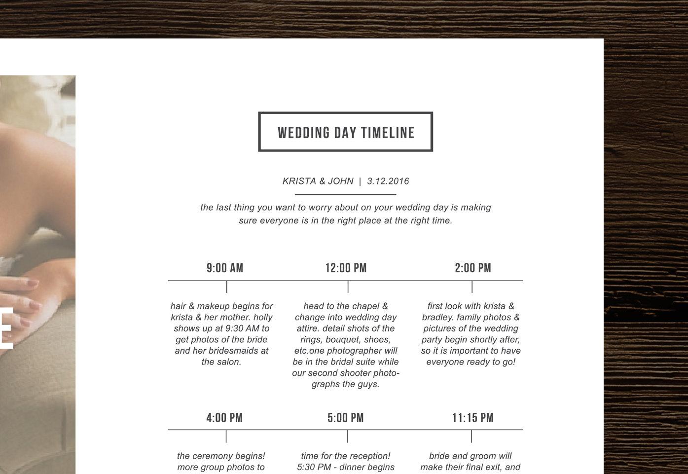 wedding timeline magazine style