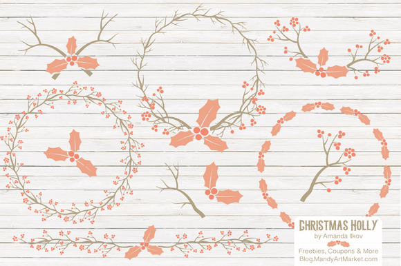 Peach Christmas Holly Vectors