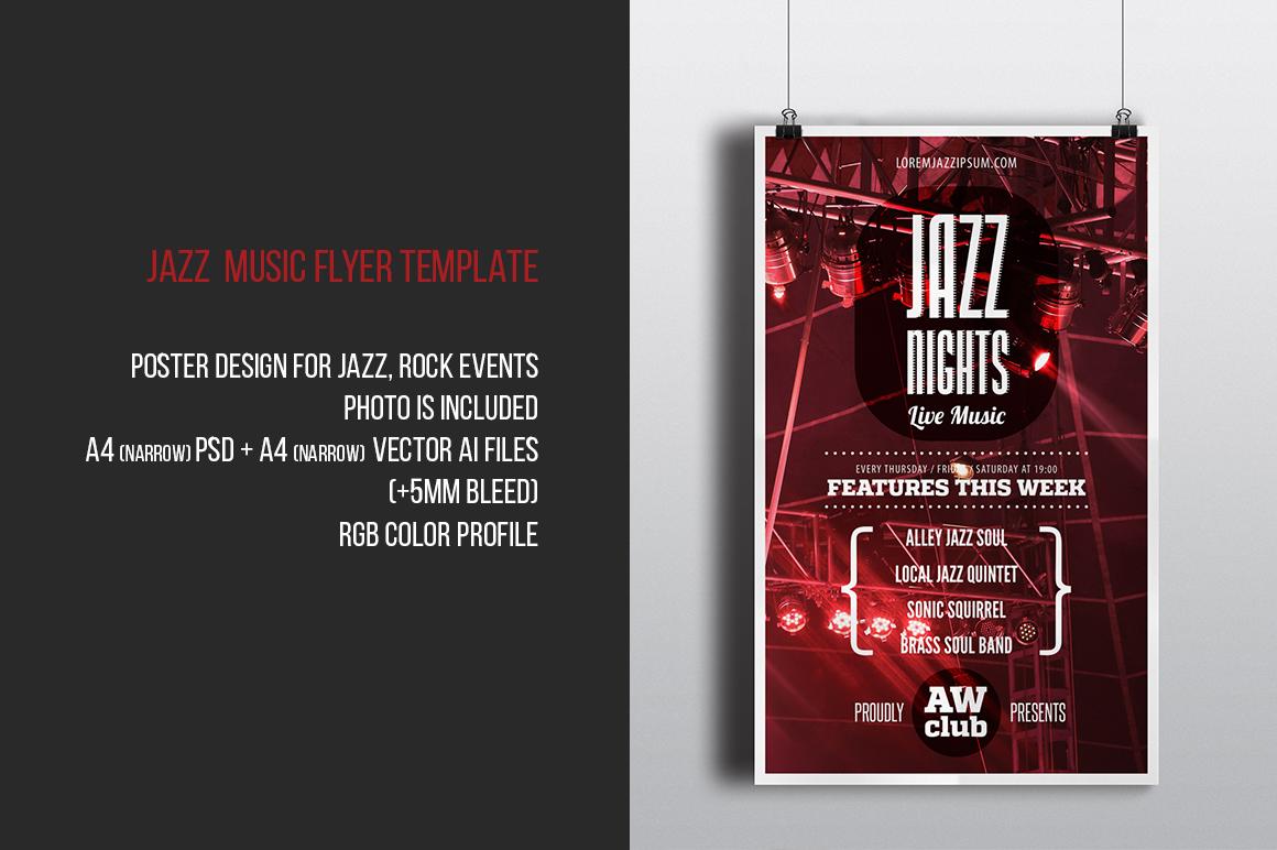 jazz nights music flyer template flyer templates on. Black Bedroom Furniture Sets. Home Design Ideas