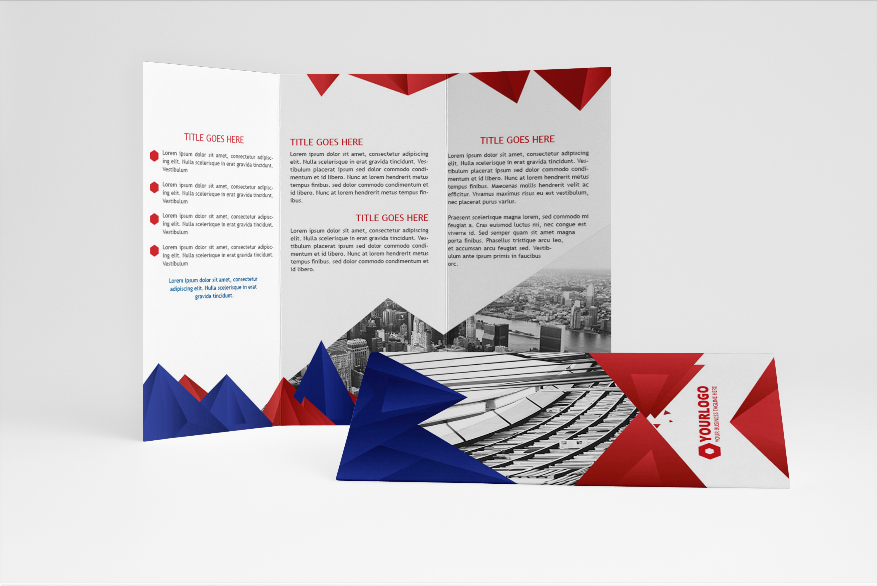 Elegant triagle trifold brochure brochure templates on for Elegant brochure templates