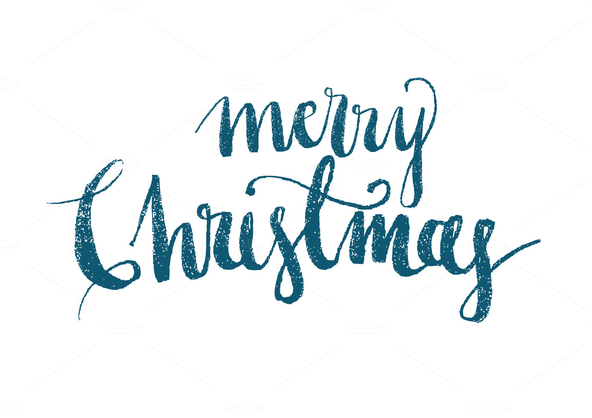 Merry christmas modern calligraphy illustrations on