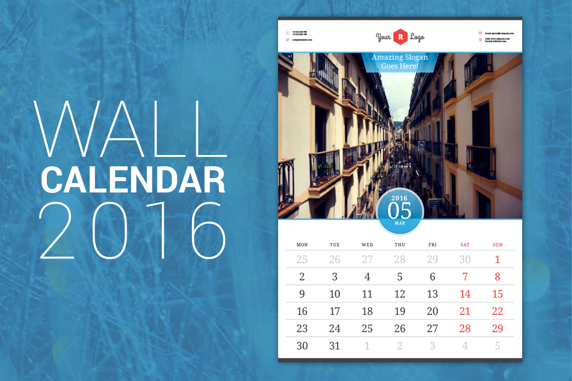 Creative Wall Calendar Design : Wall calendar stationery templates on creative market