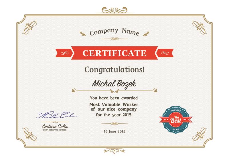 Certificate - A4 Format
