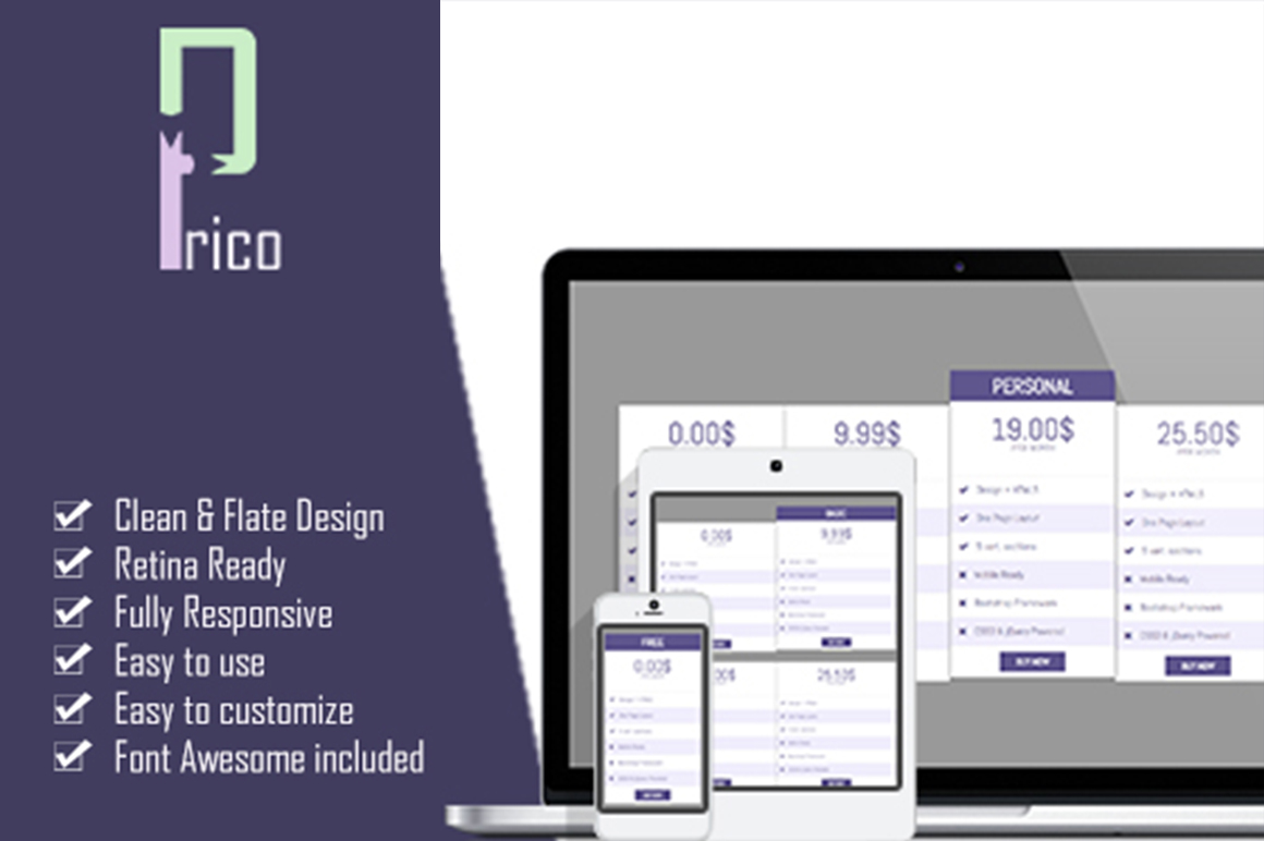Prico html5 pricing table html css themes on creative for Html5 table design