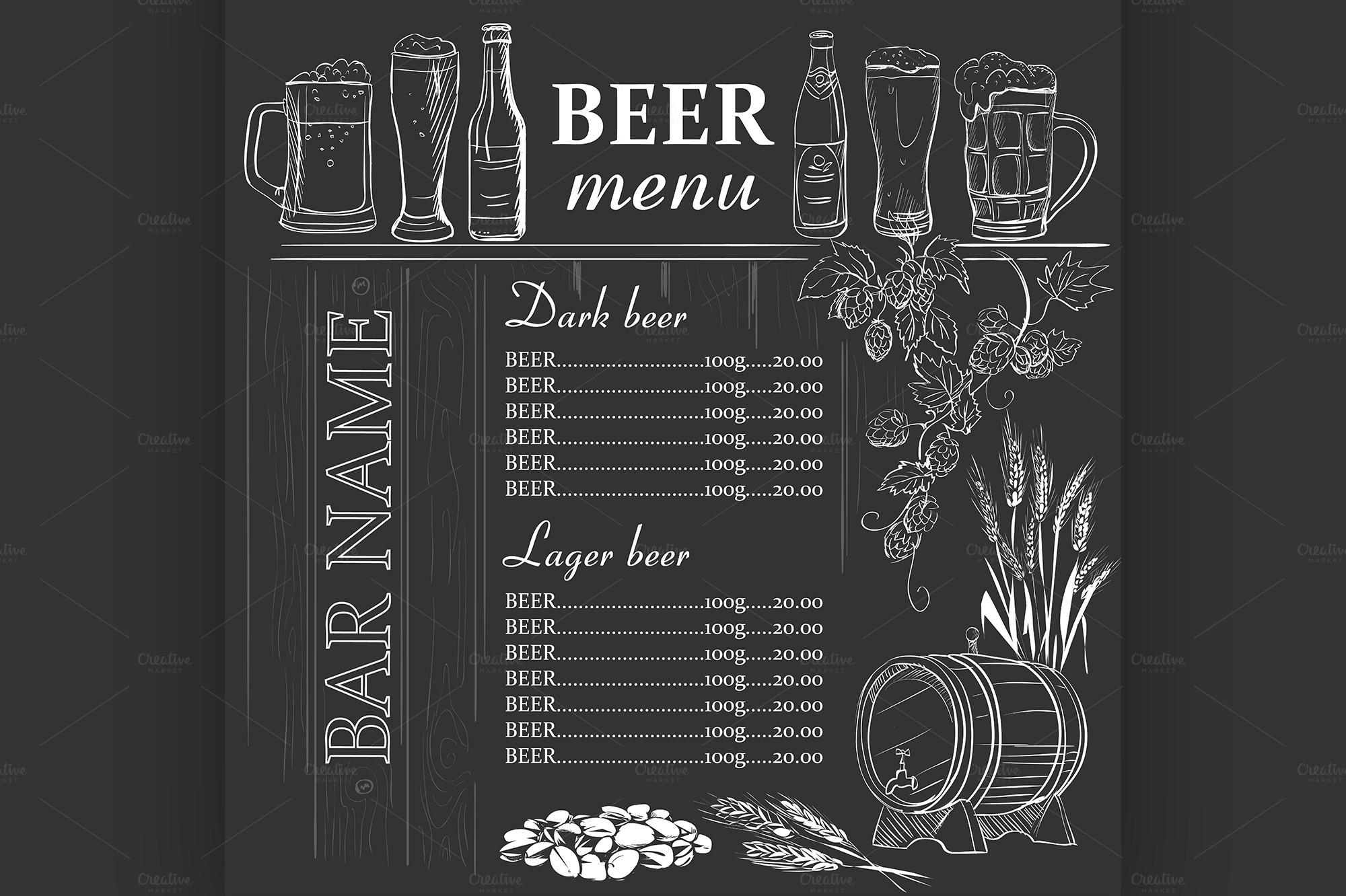 Beer Menu Hand Drawn On Chalkboard Illustrations On