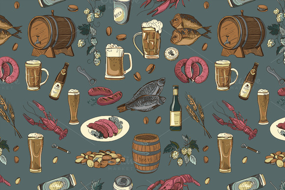 Colored Beer Hand Drawing Pattern