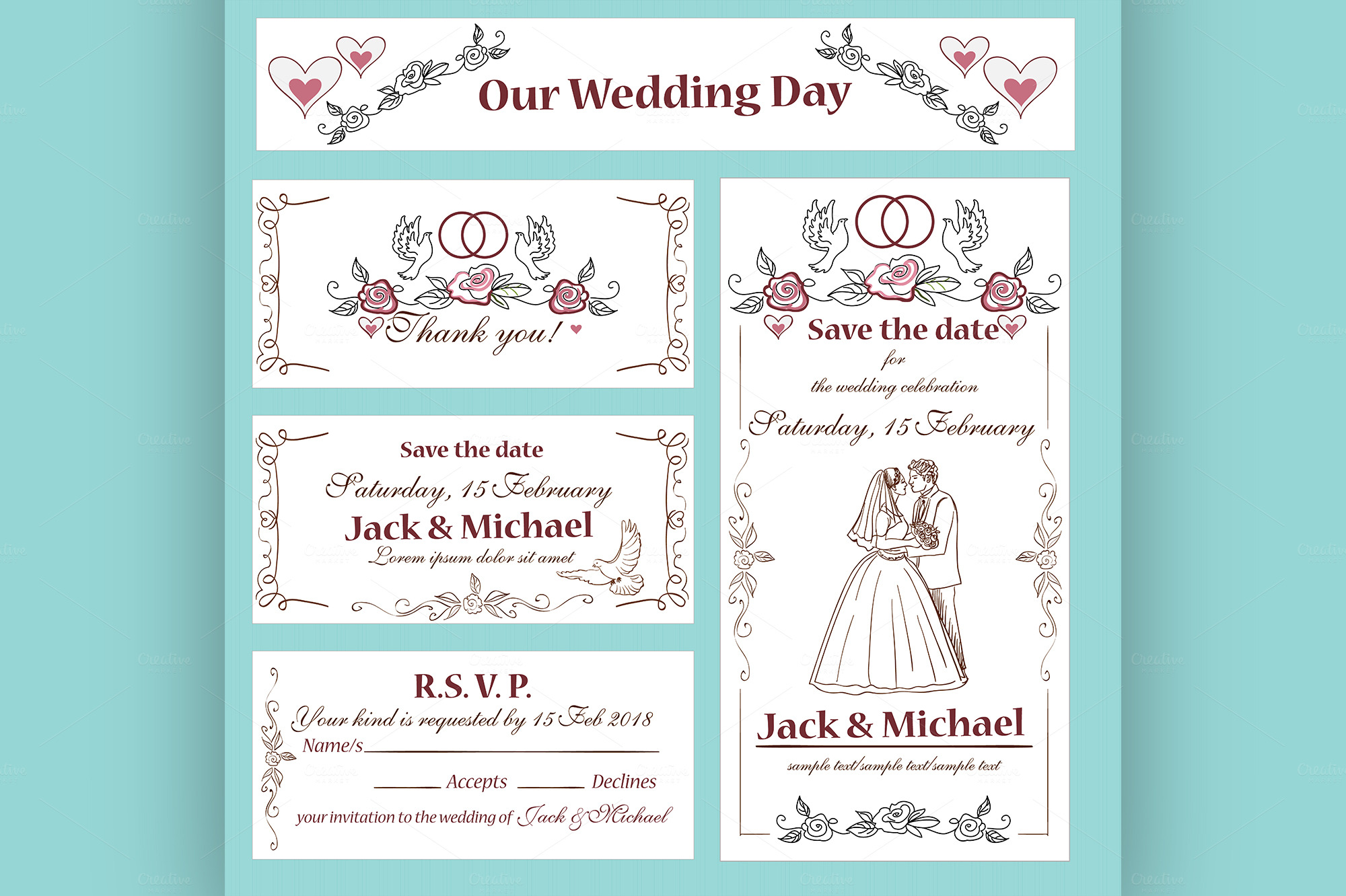 wedding invitation thank you card flyer templates on creative market. Black Bedroom Furniture Sets. Home Design Ideas