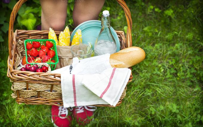 Picnic Basket Food : Picnic basket food drink photos on creative market
