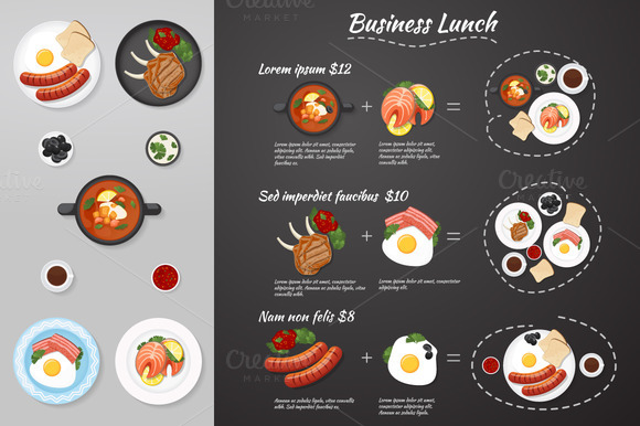 Business lunch menu. Food. Vector - Illustrations