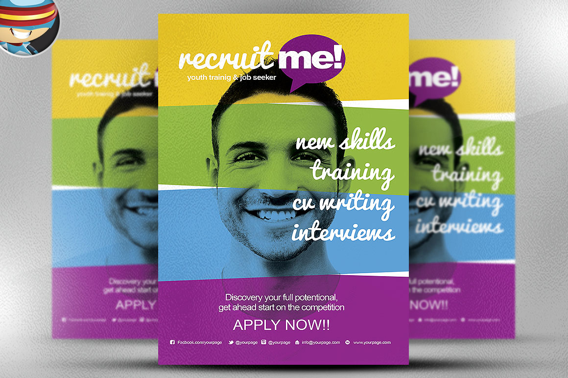 Creative recruitment flyer template flyer templates on for Recruitment brochure template