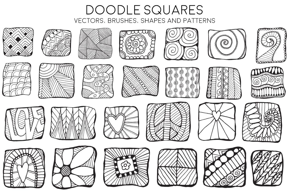 doodle squares illustrations on creative market
