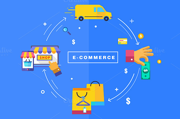 Flat Design Processing Of Online Pay