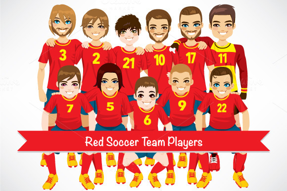 Red Soccer Team Players