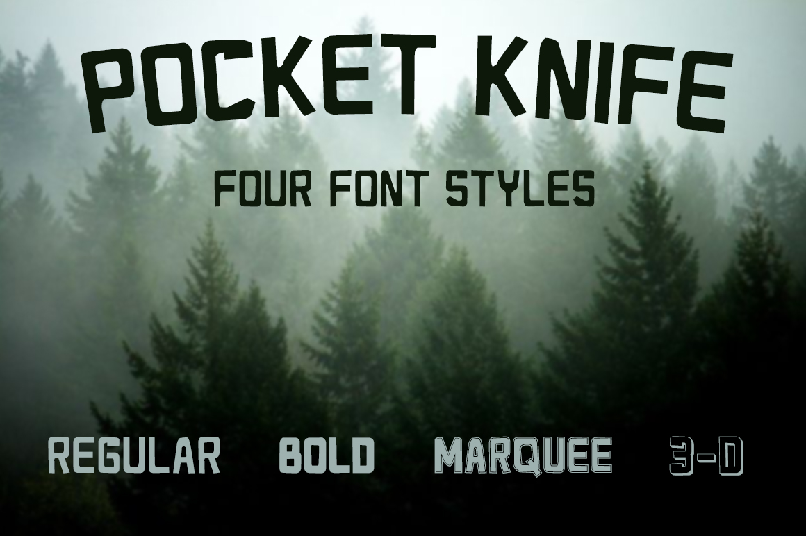 Pocket Knife Font In Four Styles Display Fonts On