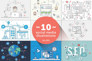 Social Media Flat Illustration