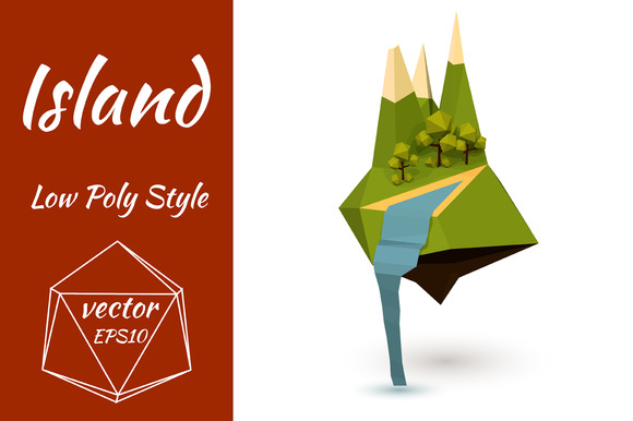Green Island In The Low Poly Style