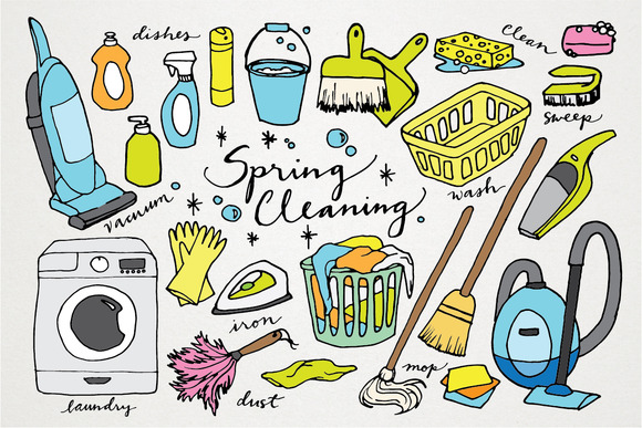 Spring Cleaning Hand Drawn Clipart