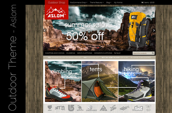 Aslom Outdoors WordPress Shop Theme