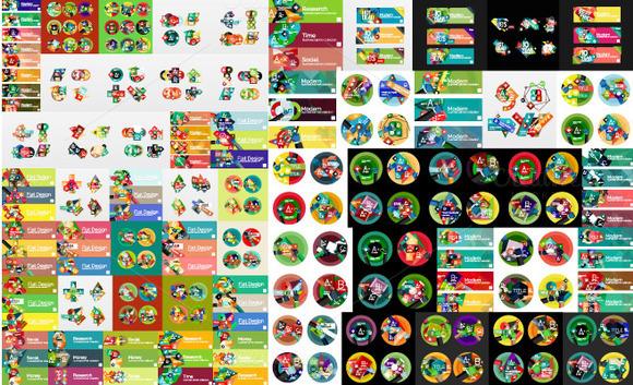 Flat Infographic Templates Mega Set