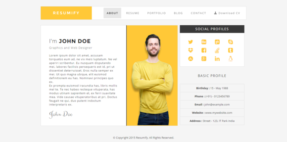 resumify  css themes on